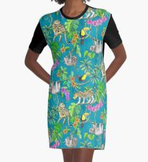Rainforest Friends - watercolor animals on textured teal Graphic T-Shirt Dress