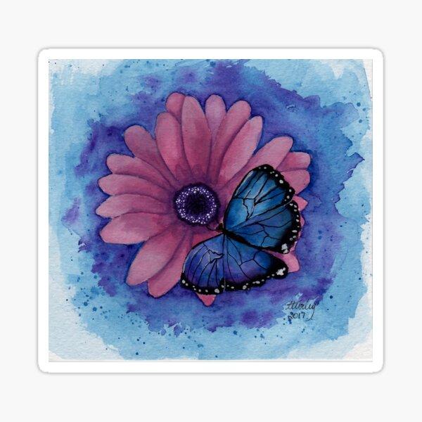 Blue Butterfly Pink Flower Sticker