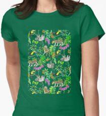 Rainforest Friends - watercolor animals on textured teal T-Shirt