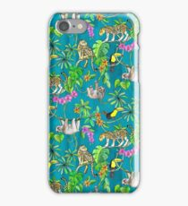 Rainforest Friends - watercolor animals on textured teal iPhone Case/Skin