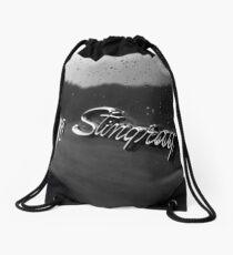 stingray, black and white Drawstring Bag