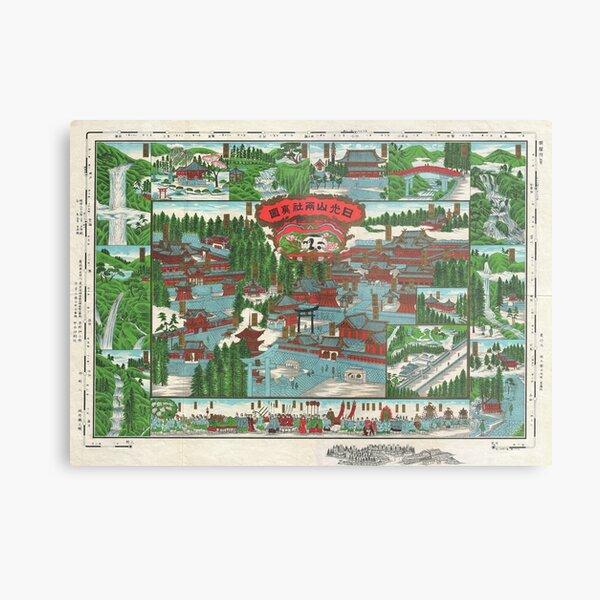 Antique Japanese Map of Nikko Japan Metal Print