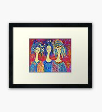 Three Angels Painting Angel Print Angel Art Decorative Colorful Pink painting Framed Print