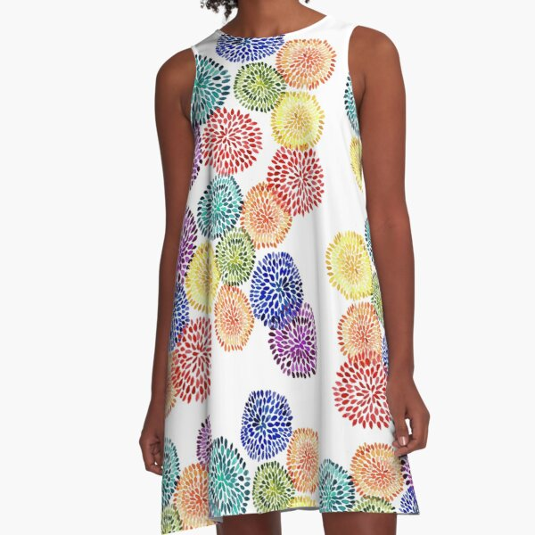 Dancing Dahlias A-Line Dress