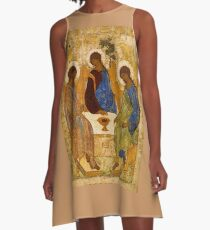 Holy Trinity Painting Rublev Trinity Print Icon Christian Religious Wall art A-Line Dress