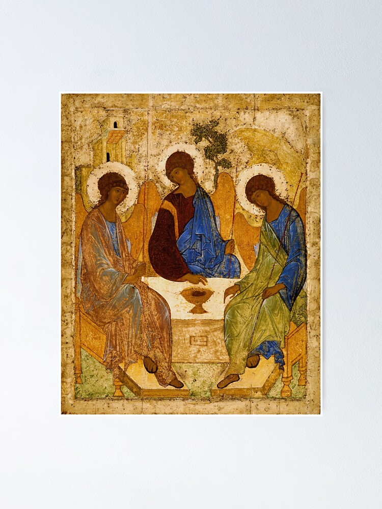 Alternate view of Holy Trinity Painting Rublev Trinity Print Icon Christian Religious Wall art Poster