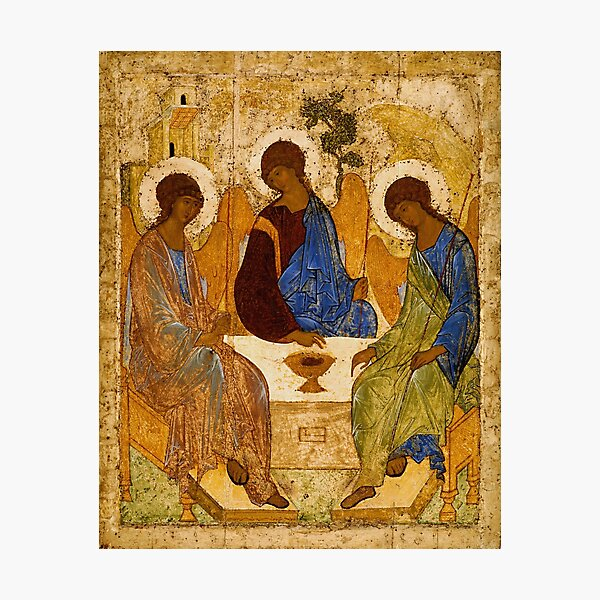 Holy Trinity Painting Rublev Trinity Print Icon Christian Religious Wall art Photographic Print