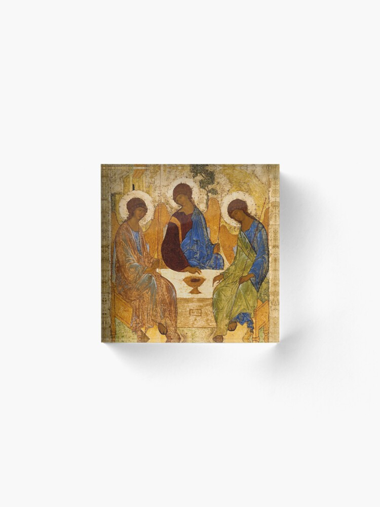 Alternate view of Holy Trinity Painting Rublev Trinity Print Icon Christian Religious Wall art Acrylic Block