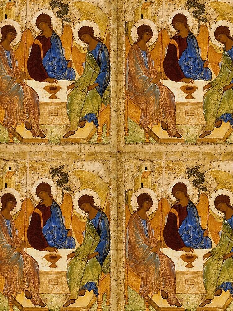 Heilige Dreifaltigkeits-Malerei Rublev-Dreiheits-Druck-Ikone Christian Religiöse Wandkunst von tanabe