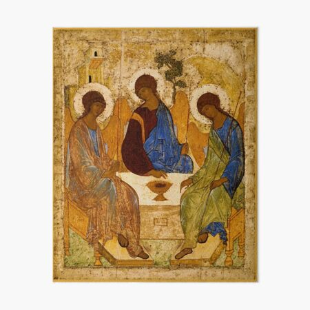 Holy Trinity Painting Rublev Trinity Print Icon Christian Religious Wall art Art Board Print