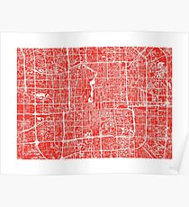 Beijing Map - Red Poster