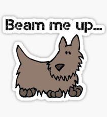 Beam Me Up Scotty Dog Cartoon Sticker