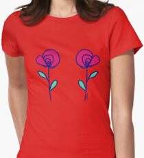 Double Rose Womens Fitted T-Shirt