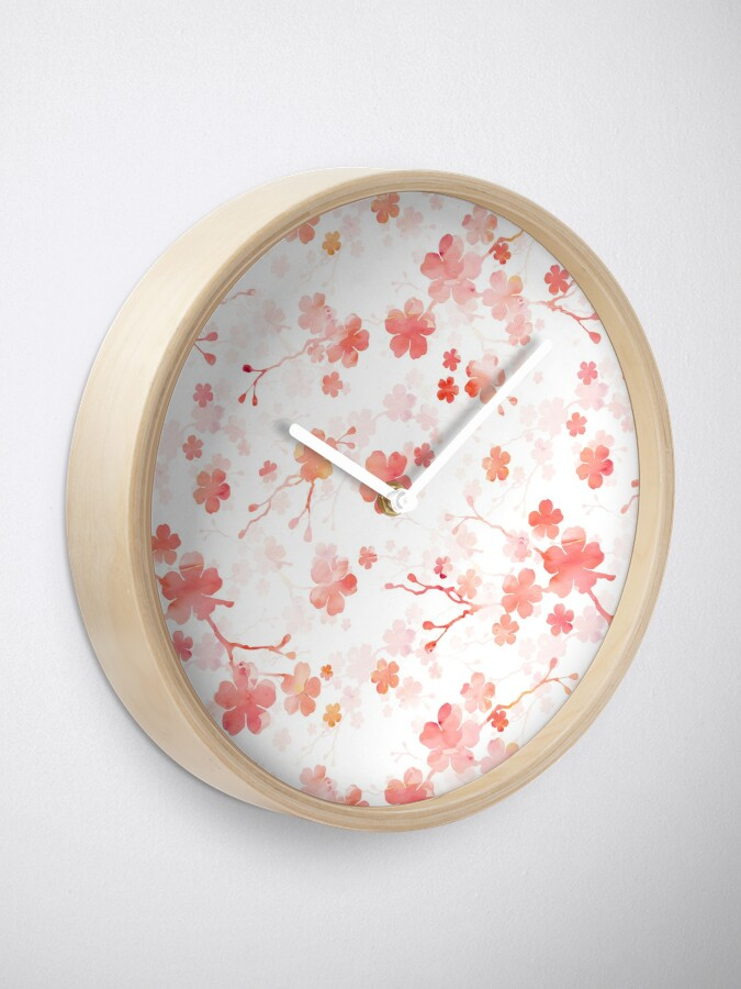 Alternate view of Cherry blossom in shades of pink Clock
