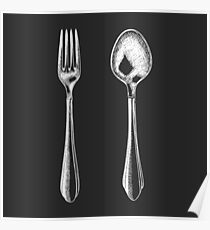 Fork and spoon Poster