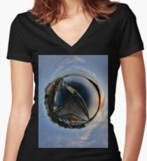 Foyle Marina at Dawn, Stereographic Women's Fitted V-Neck T-Shirt