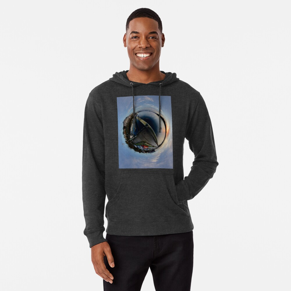 Foyle Marina at Dawn, Stereographic Lightweight Hoodie
