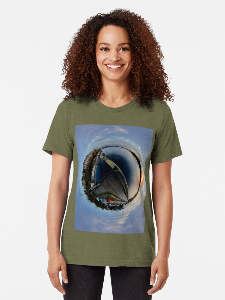 Alternate view of Foyle Marina at Dawn, Stereographic Tri-blend T-Shirt