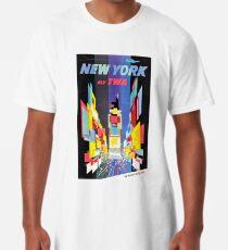 Camiseta larga Vintage New York City Skyscrapers Air Travel