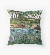 Donkeys drinking from the Jordan river Throw Pillow