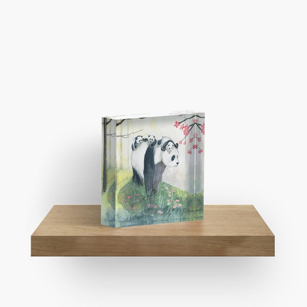 Panda Family Acrylic Block