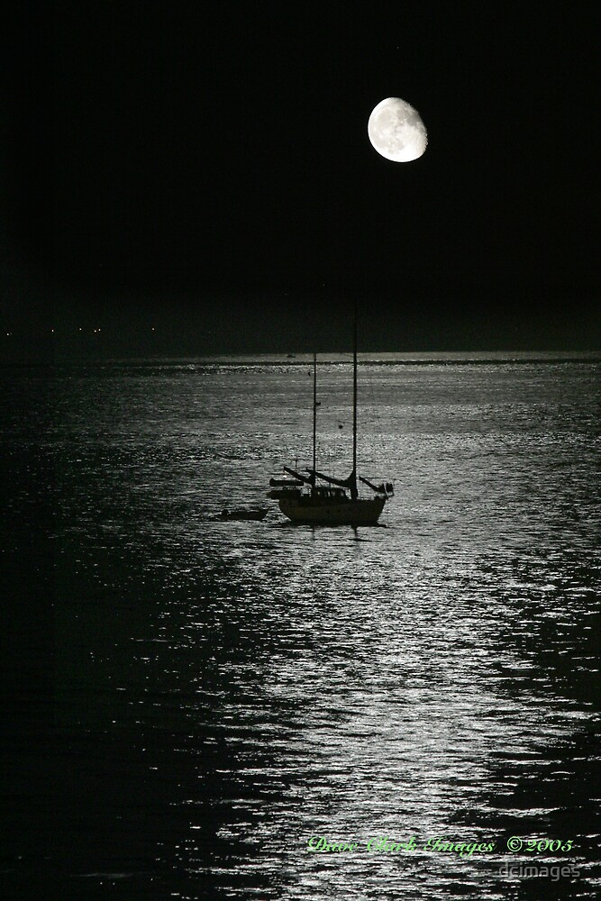 Boat Moon by dcimages