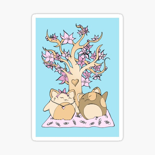 Lucky cats under blossom tree Sticker