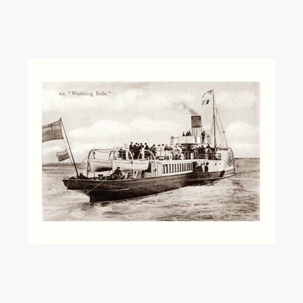 Ref: 76 - The Worthing Belle, Paddle Steamer. Art Print