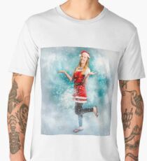 Santa woman playing in magic christmas snow Men's Premium T-Shirt