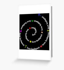 Love Budapest, icons, black Greeting Card