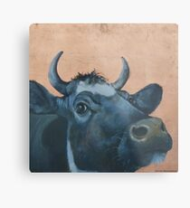 """The Grass Is Always Greener..."" Cow Gazing Over Fence Metal Print"