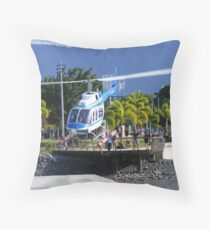 helicoptor taking off Throw Pillow