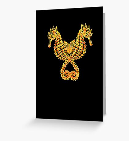 Seahorses Holding Tails Tribal Tattoo Greeting Card