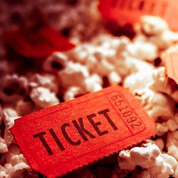 Cinema ticket on snackbar food by jorgophotograph