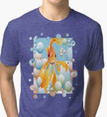 Cute Fantail Goldfish Swimming In Bubbles Tri-blend T-Shirt