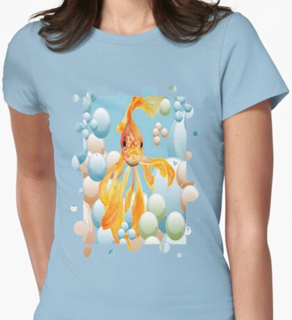 Cute Fantail Goldfish Swimming In Bubbles T-Shirt