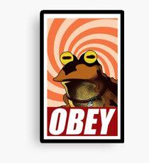 obey hypnotoad frog crazy funny humor  Canvas Print