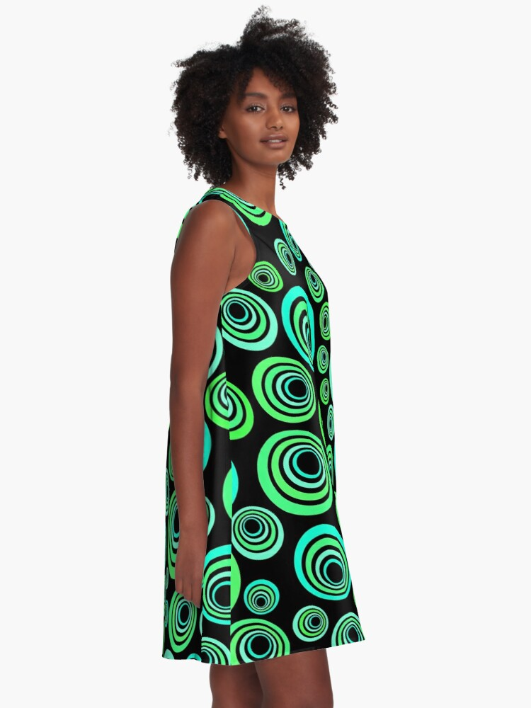 Alternate view of Neon blue and green A-Line Dress