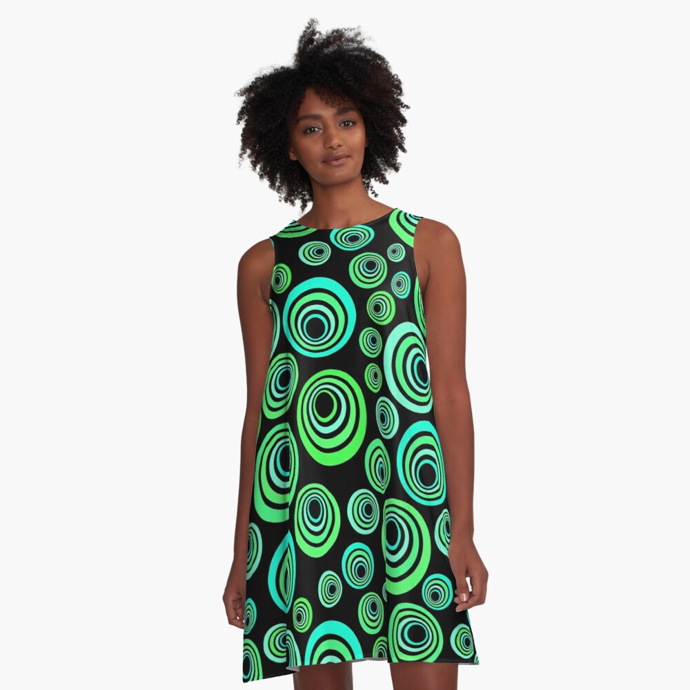 Neon blue and green A-Line Dress