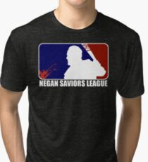 negan saviors major league baseball dead bat blood kill funny tv show Tri-blend T-Shirt