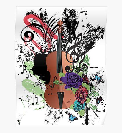 Grunge-Violine-Illustration Poster