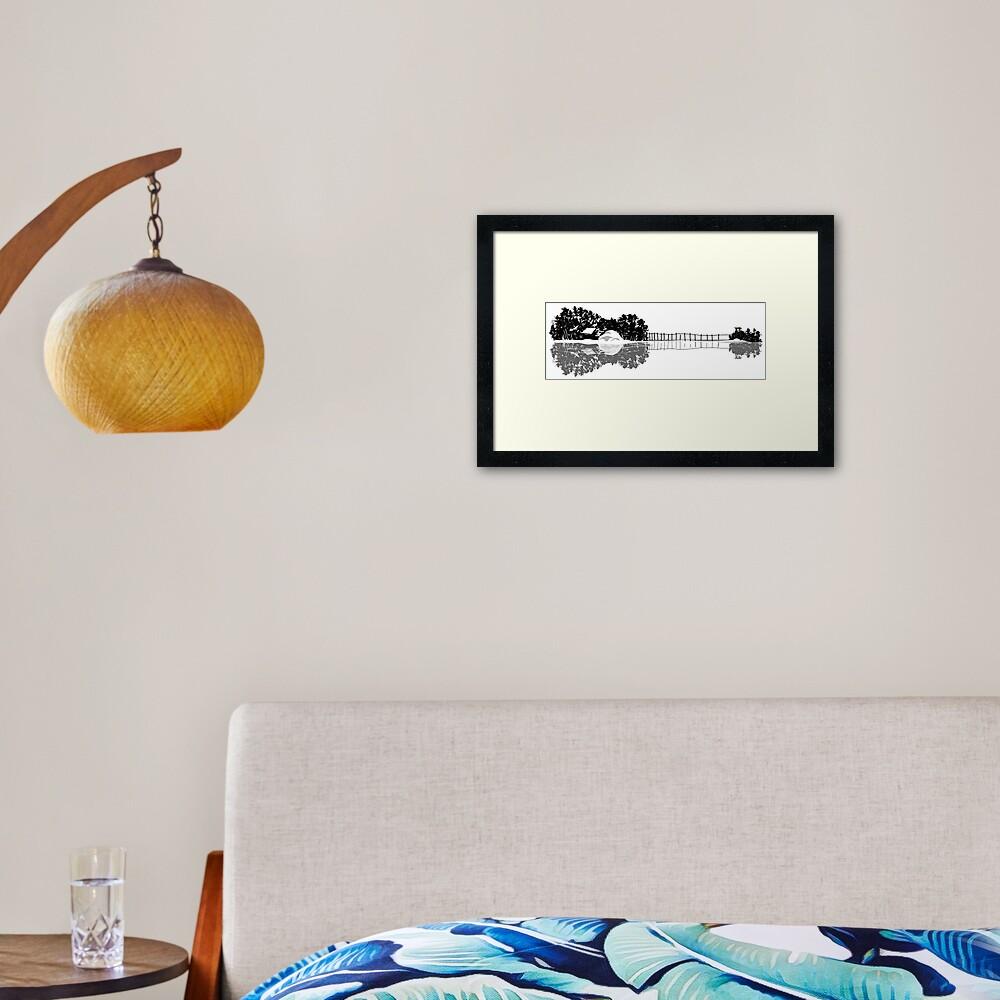 Ukulele guitar island shape silhouette art Framed Art Print