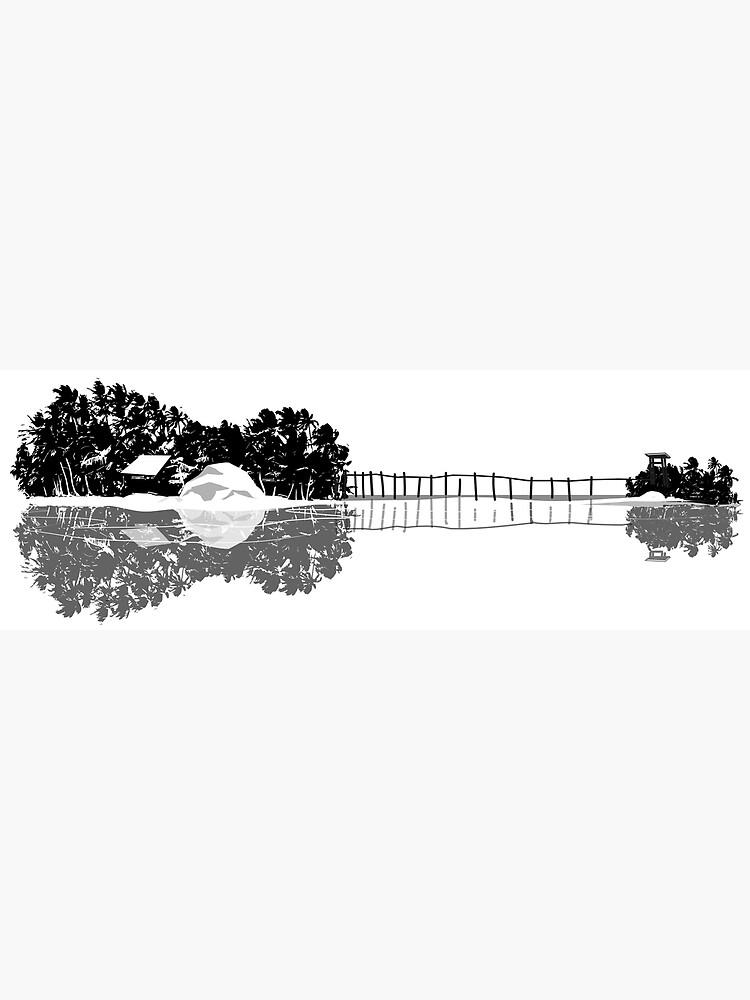 Ukulele guitar island shape silhouette art by masatomio
