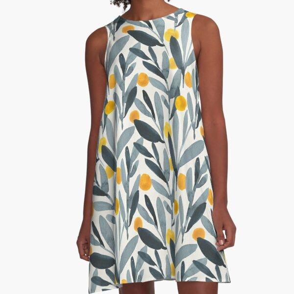 Indigo Mustard A-Line Dress