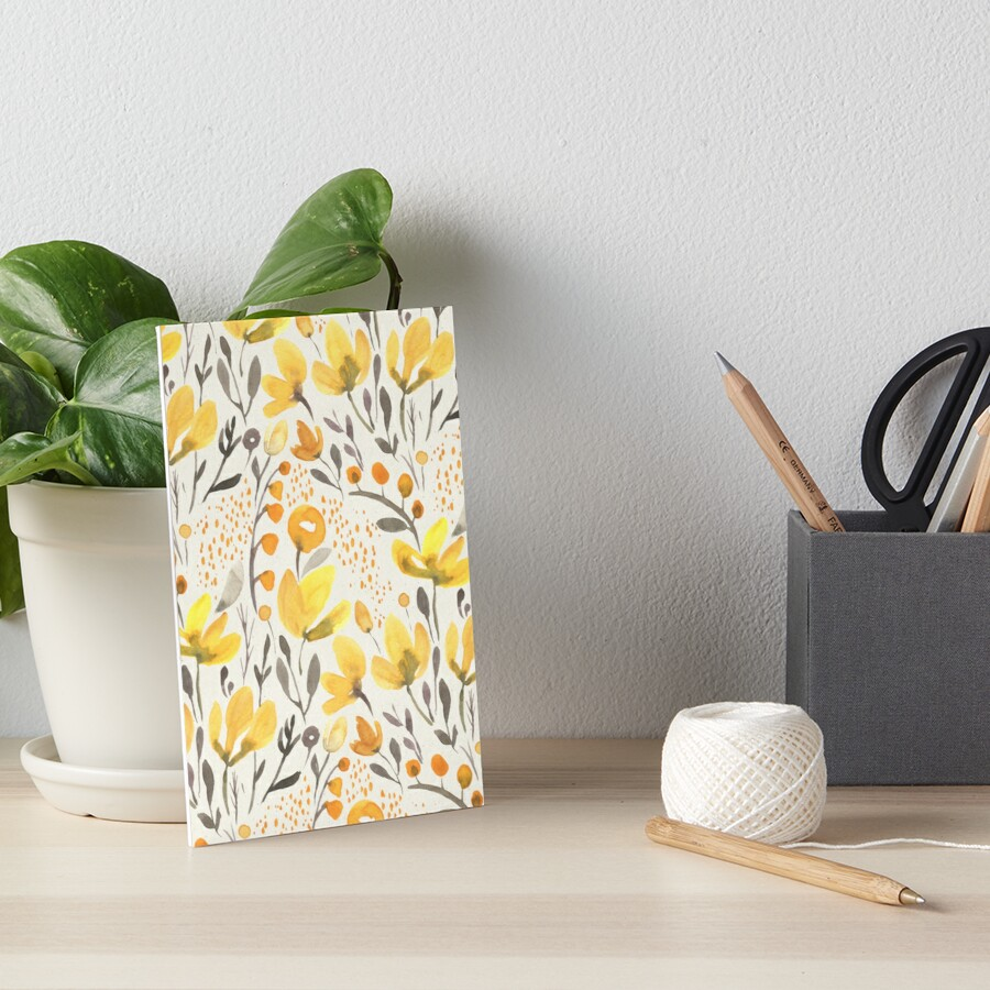 Yellow field Art Board Print
