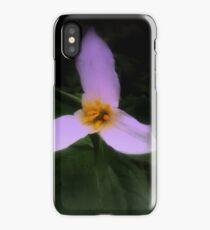 white trillium, dark background, tinted iPhone Case/Skin