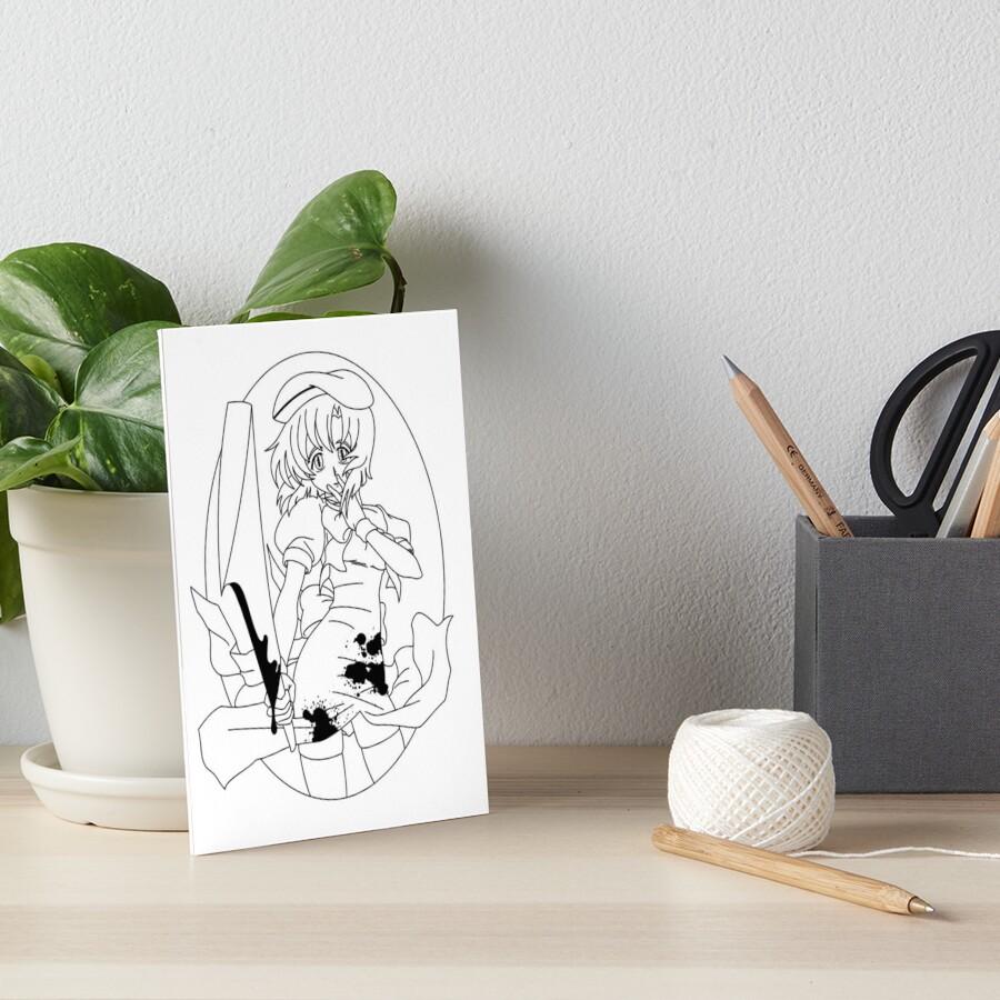 Higurashi No Naku Koro Ni Rena Black Art Board Print By Angrahius Redbubble