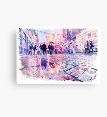 Dublin Watercolor Streetscape Metal Print