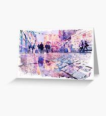 Dublin Watercolor Streetscape Greeting Card
