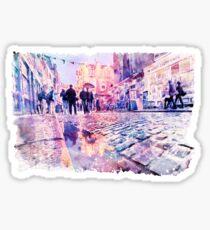 Dublin Watercolor Streetscape Sticker